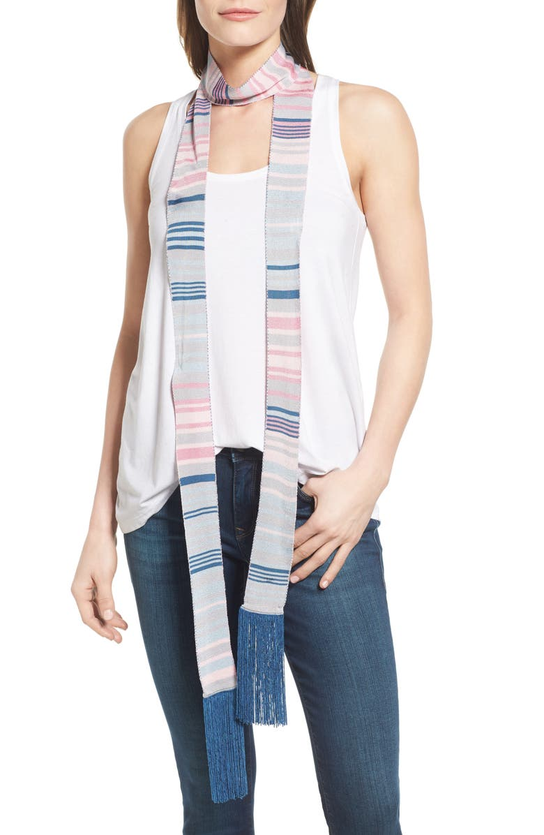 HALOGEN<SUP>®</SUP> Stripe Fringe Skinny Scarf, Main, color, 450