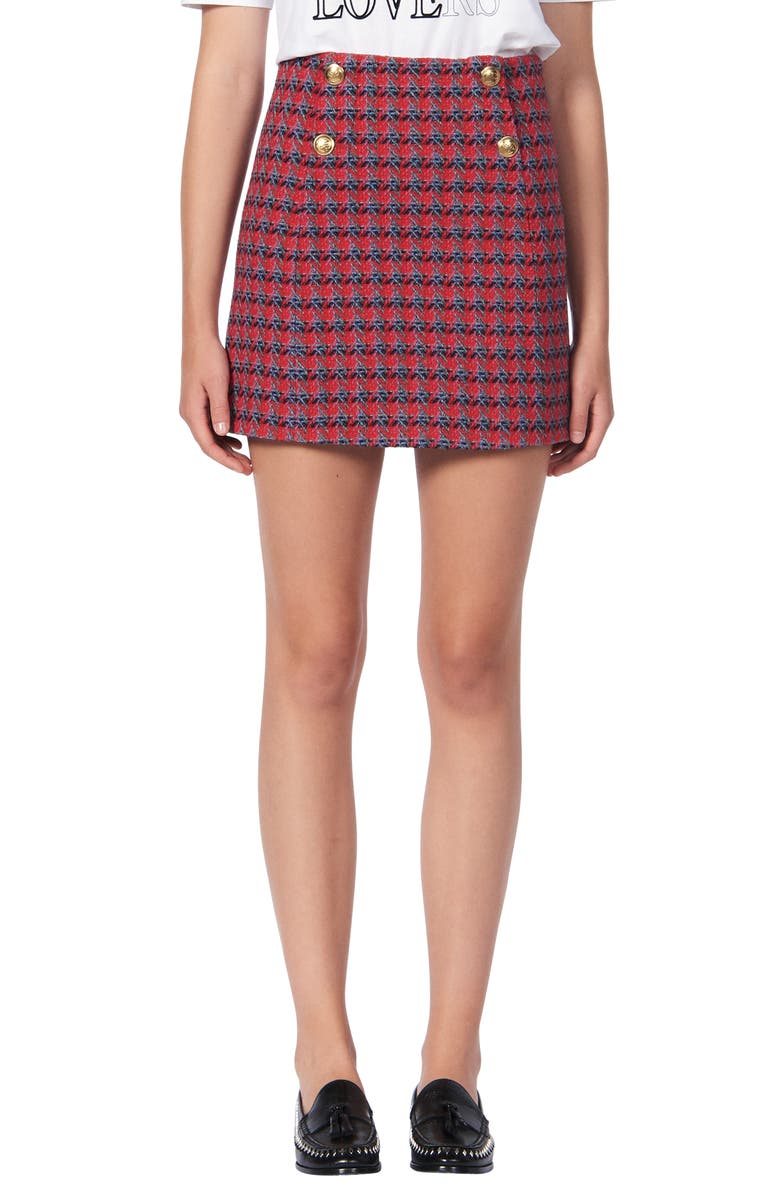 SANDRO Efira Tweed Wool & Cotton Blend Miniskirt, Main, color, 600