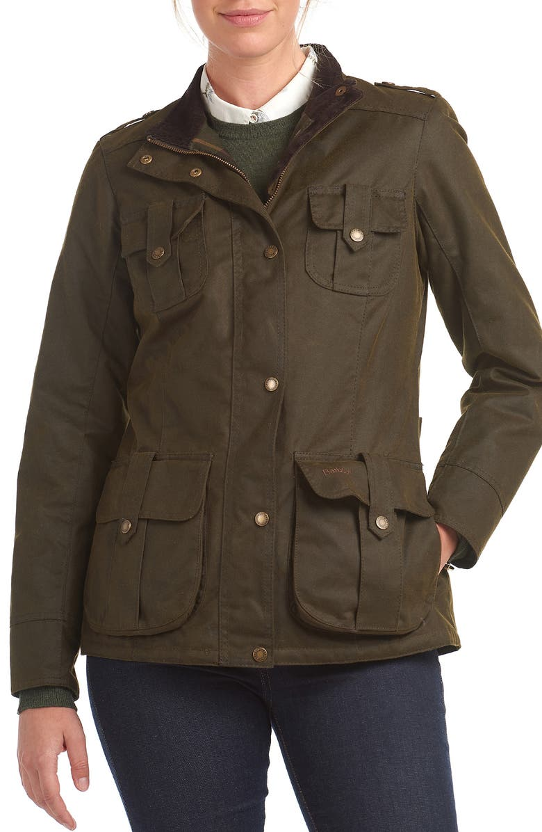 BARBOUR Winter Defense Waxed Water Resistant Utility Jacket, Main, color, 340