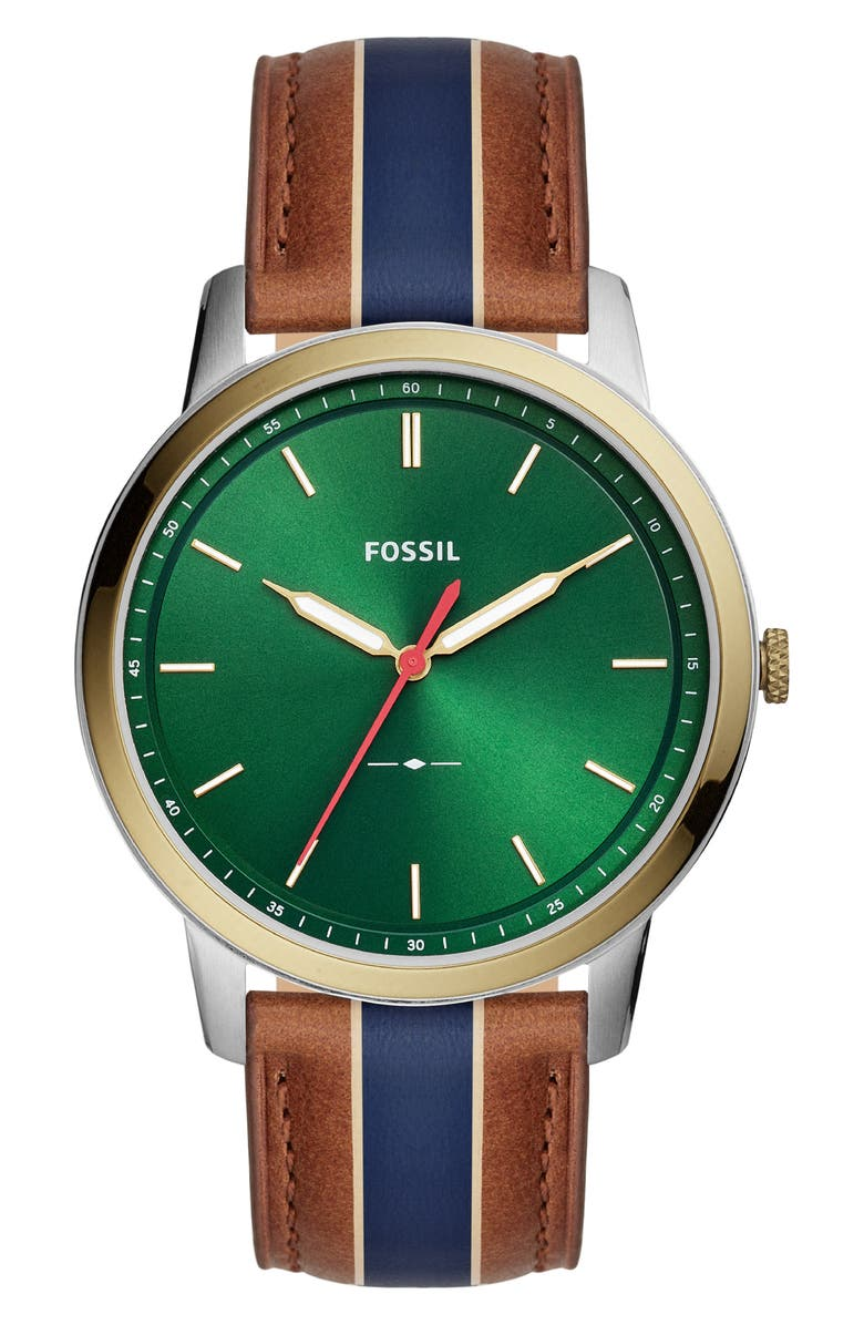 FOSSIL Minimalist Leather Strap Watch, 44mm, Main, color, 200