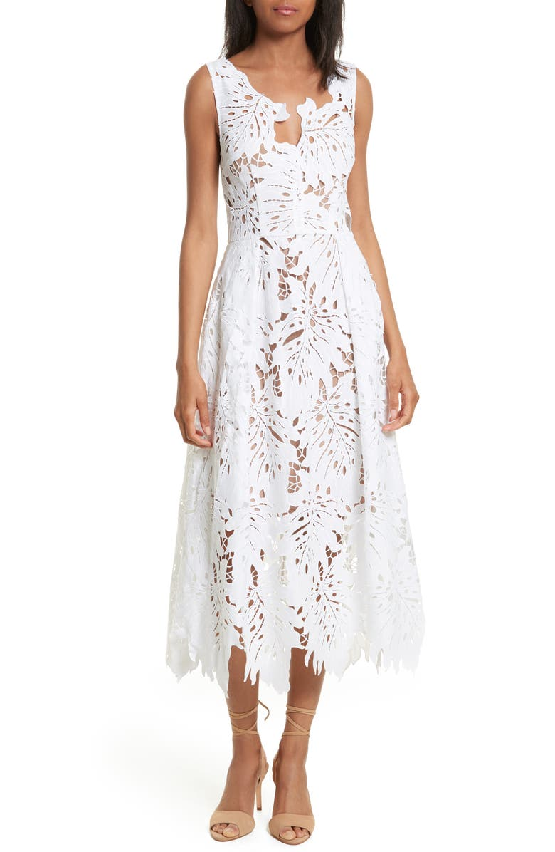 TRACY REESE Leaf Lace Frock, Main, color, White
