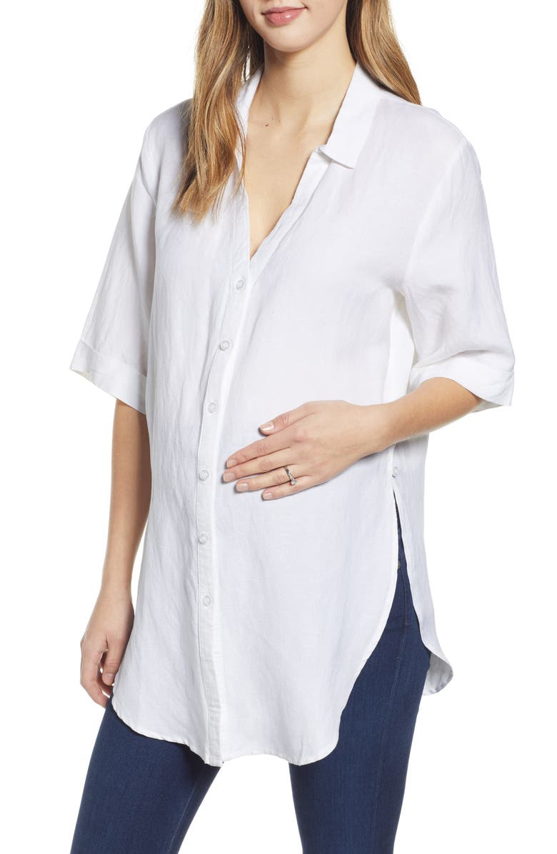 ANGEL MATERNITY Tie Front Maternity Button-Up Shirt, Main, color, White