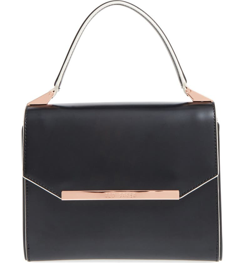 TED BAKER LONDON 'Avaa' Leather Crossbody Bag, Main, color, JET