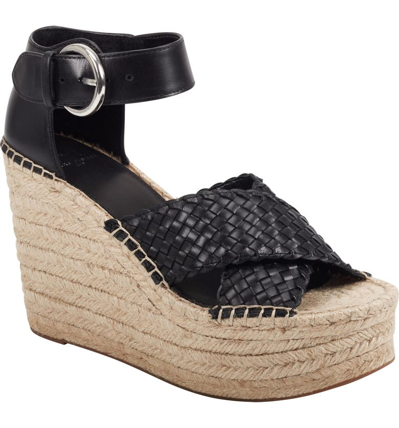 MARC FISHER LTD Aylon Espadrille Sandal, Main, color, BLACK LEATHER