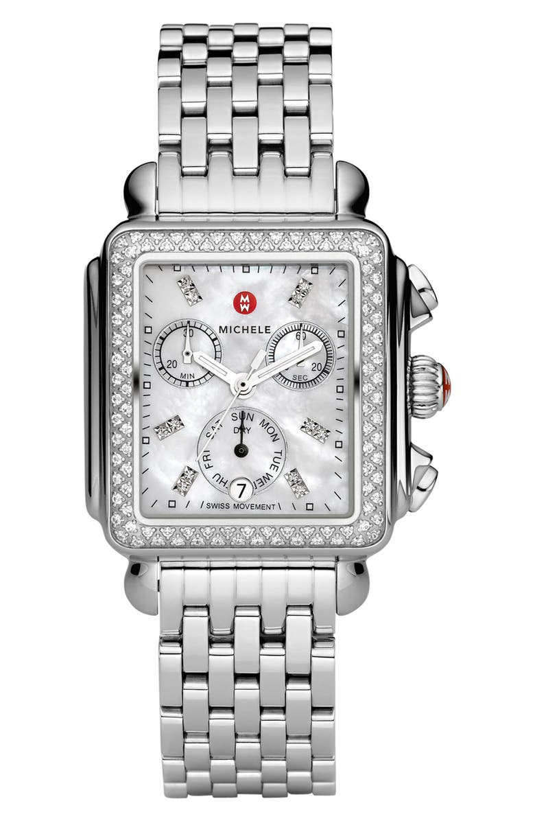 MICHELE Deco Diamond Chronograph Watch Head & Bracelet, 33mm, Main, color, SILVER/ WHITE