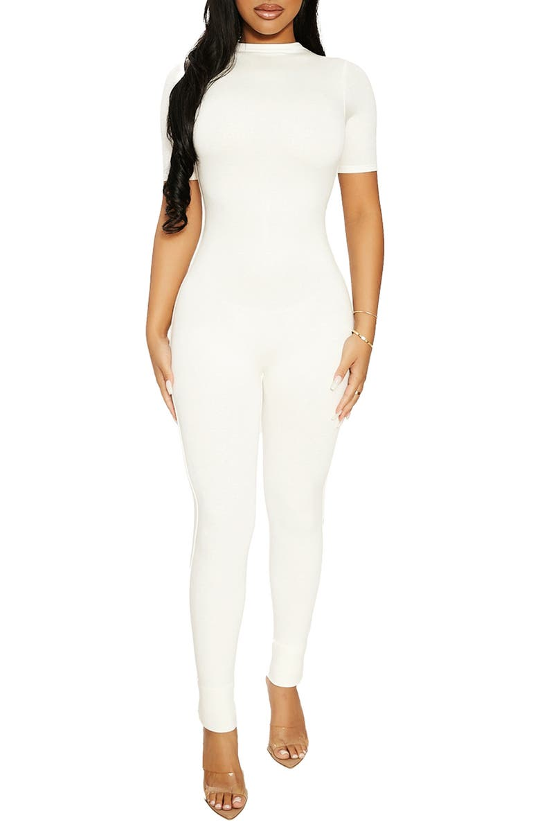 NAKED WARDROBE Sweet T Funnel Neck Jumpsuit, Main, color, OFF WHITE
