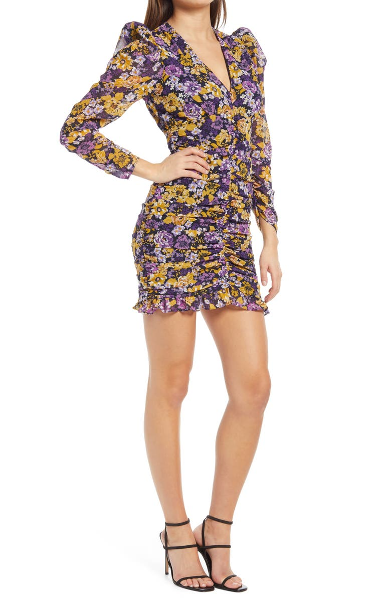 ASTR THE LABEL Ruched Long Sleeve Minidress, Main, color, MUSTARD PURPLE FLORAL