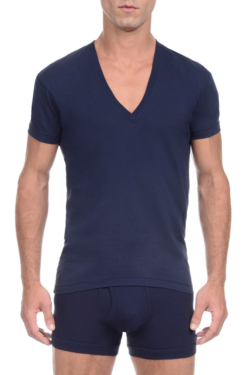 2(X)IST Slim Fit Pima Cotton Deep V-Neck T-Shirt, Main, color, NAVY