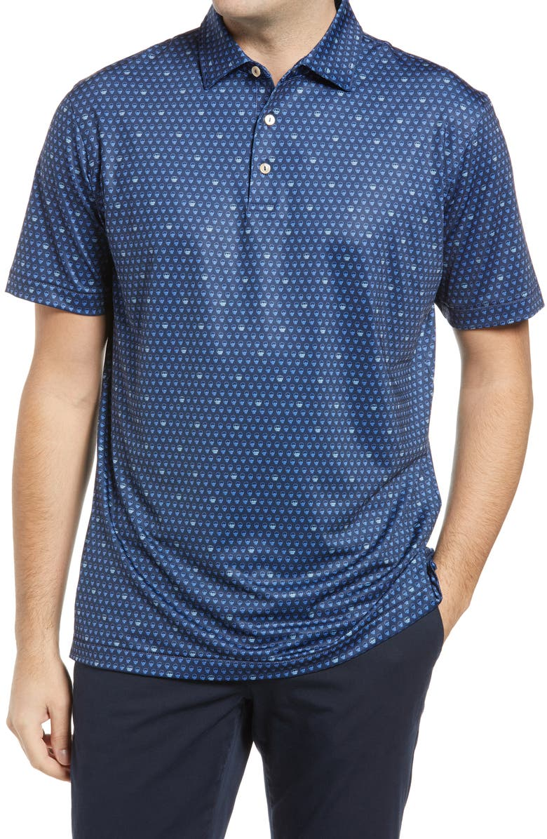 PETER MILLAR Seeing Double Skull Print Short Sleeve Performance Golf Polo, Main, color, NAVY