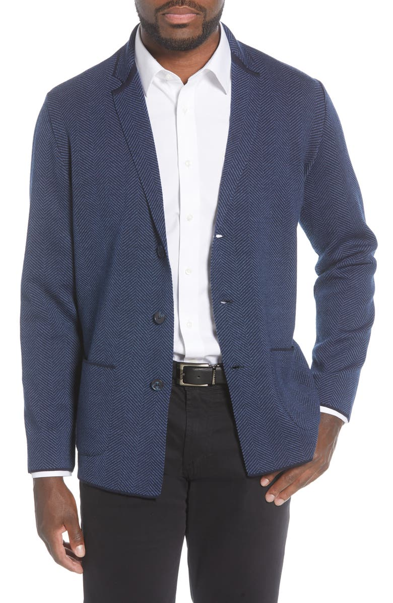 STONE ROSE Herringbone Wool Blend Knit Blazer, Main, color, 411