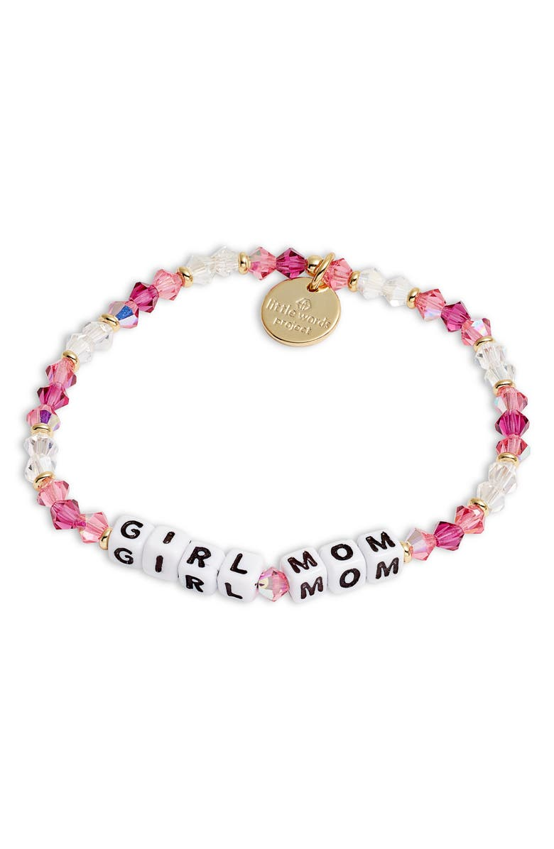LITTLE WORDS PROJECT Girl Mom Stretch Bracelet, Main, color, ORCHID/ WHITE