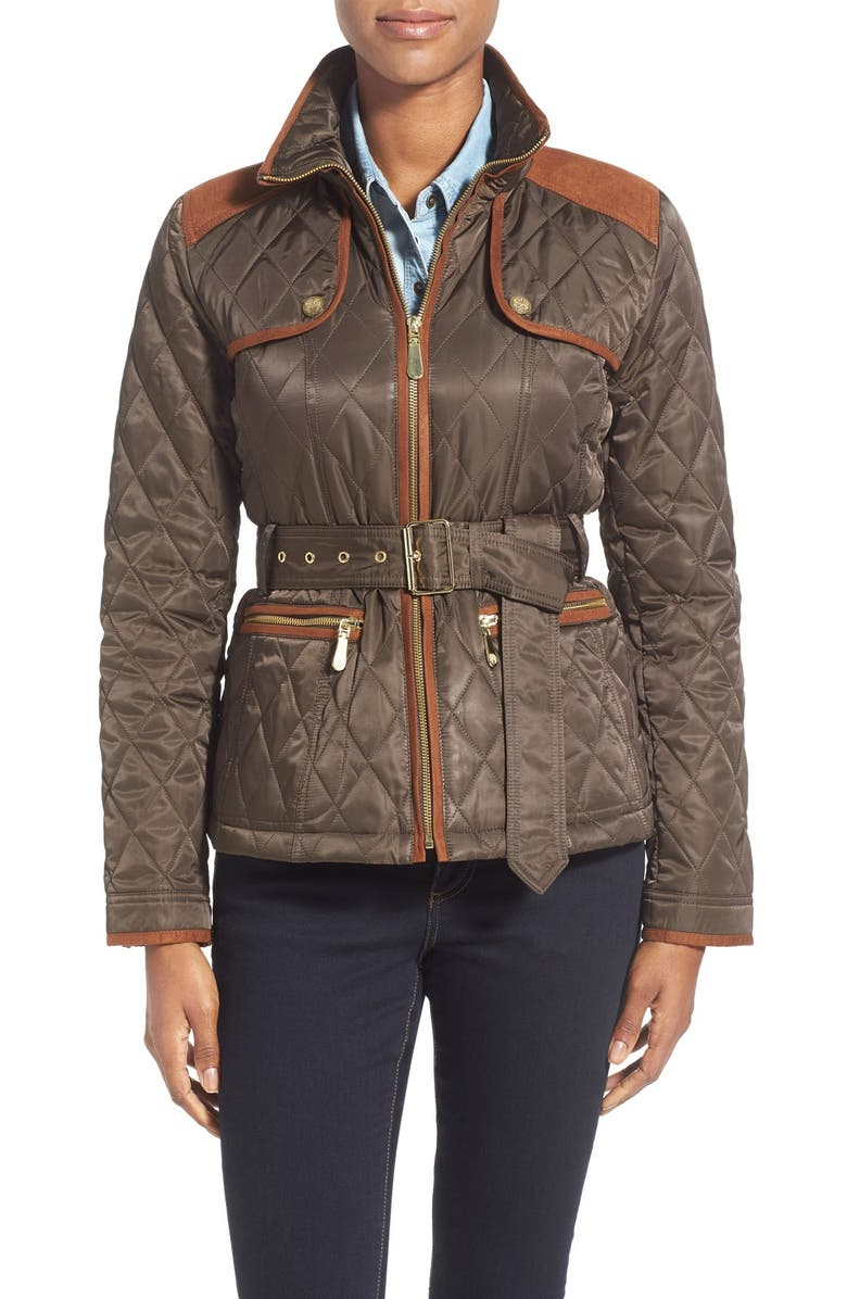 VINCE CAMUTO FauxSuede Trim Belted Quilted Jacket, Main, color, 267