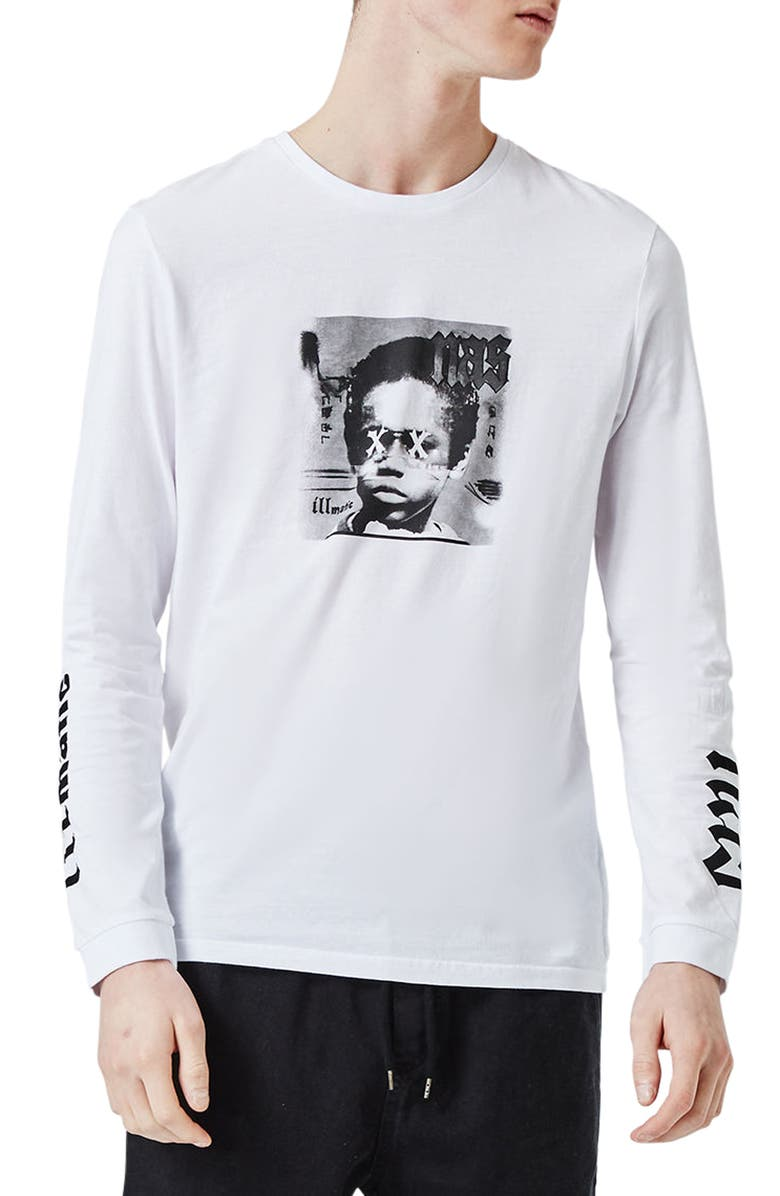 TOPMAN Nas Illmatic Long Sleeve Graphic T-Shirt, Main, color, 100