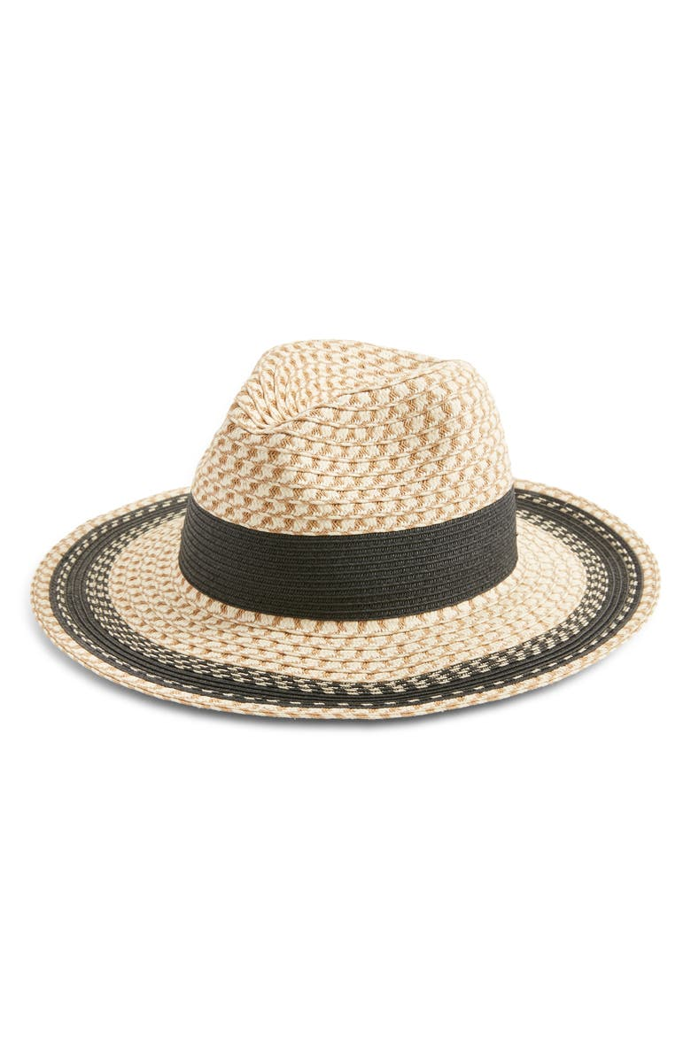 NORDSTROM Contrast Detail Textured Weave Panama Hat, Main, color, 235