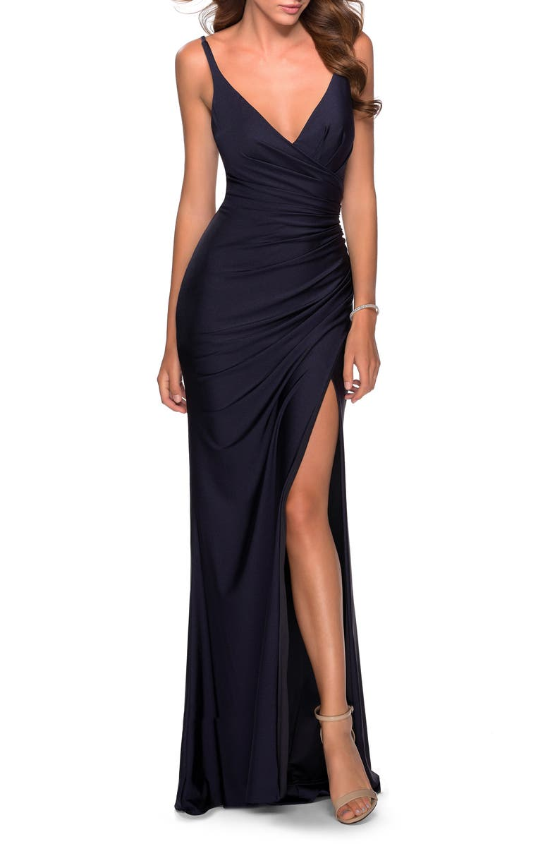 LA FEMME Ruched Jersey Gown, Main, color, NAVY