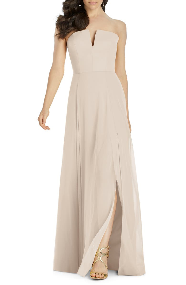 DESSY COLLECTION Strapless Chiffon A-Line Gown, Main, color, CAMEO