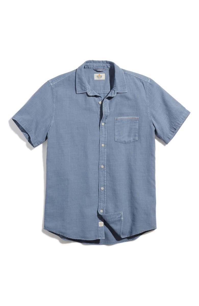 MARINE LAYER Classic Fit Selvage Short Sleeve Button-Up Shirt, Main, color, DUSTY BLUE
