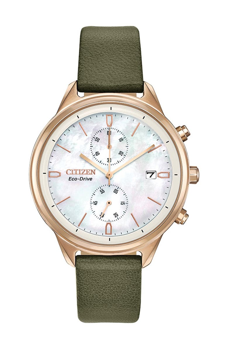 CITIZEN Women's Eco-Drive Vegan Leather Strap Watch, 39mm, Main, color, OLIVE GREEN