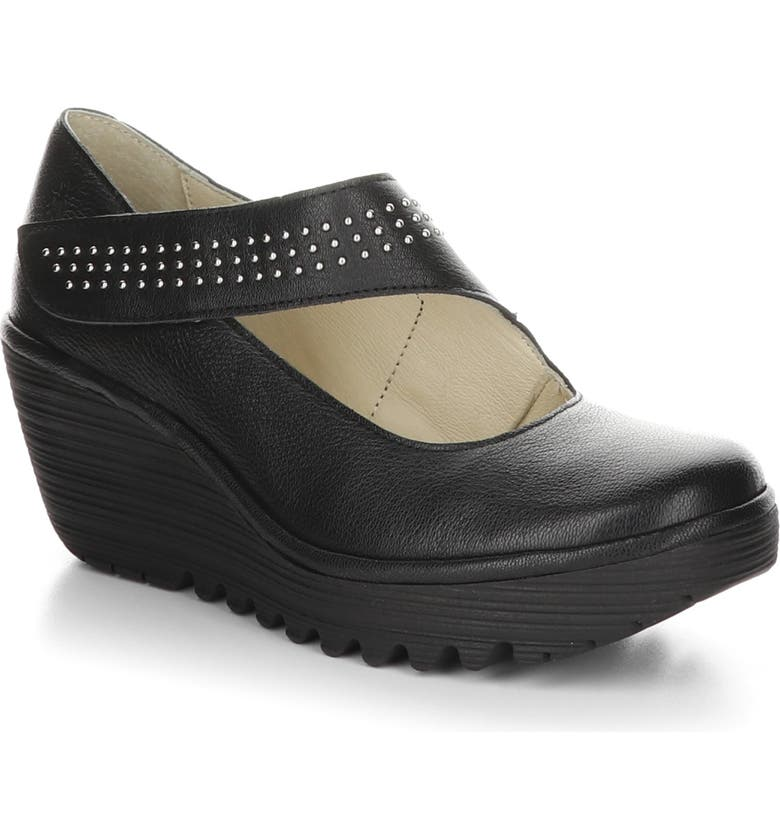 FLY LONDON Yasi Water Resistant Wedge Pump, Main, color, BLACK LEATHER