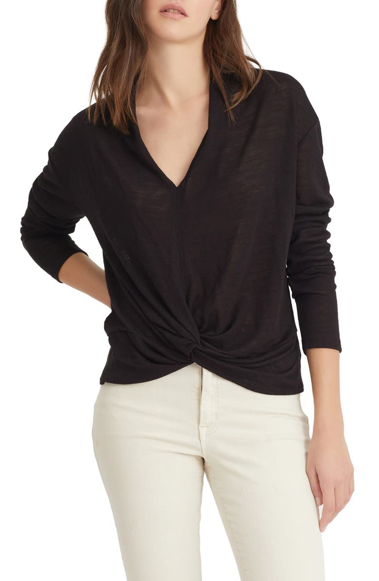 SANCTUARY Knot Interested Knit Top, Main, color, BLACK