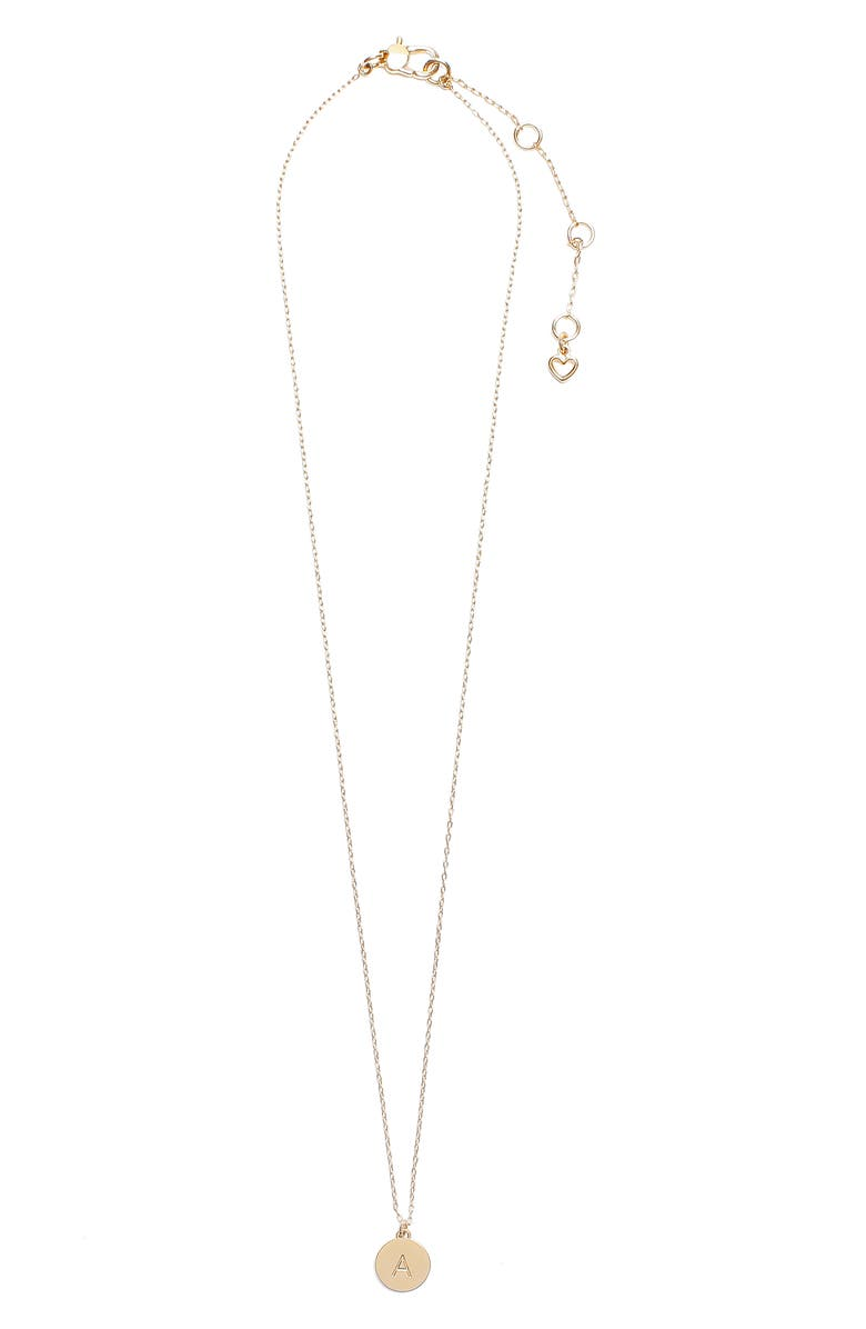 KATE SPADE NEW YORK mini initial pendant necklace, Main, color, GOLD - A