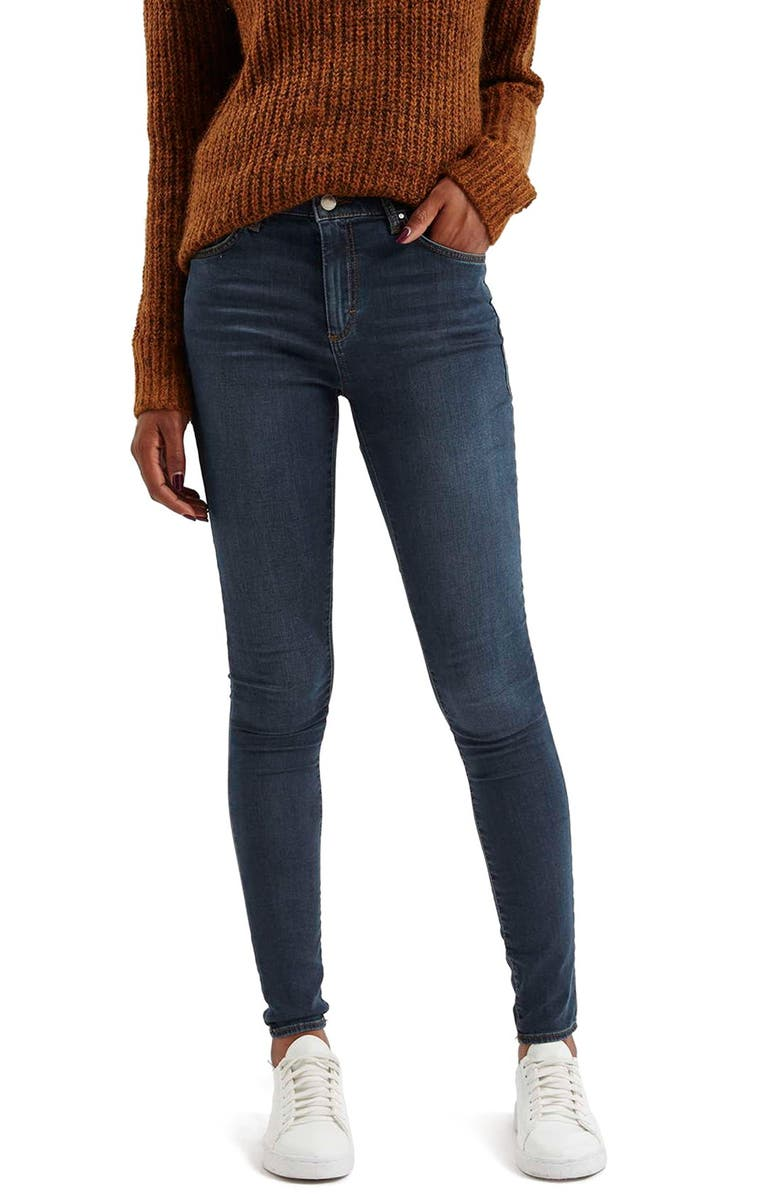 TOPSHOP Moto 'Leigh' Skinny Jeans, Main, color, NAVY BLUE