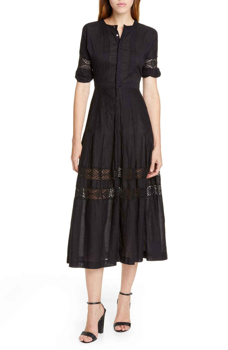LOVESHACKFANCY Edie Midi Shirtdress, Main, color, Black