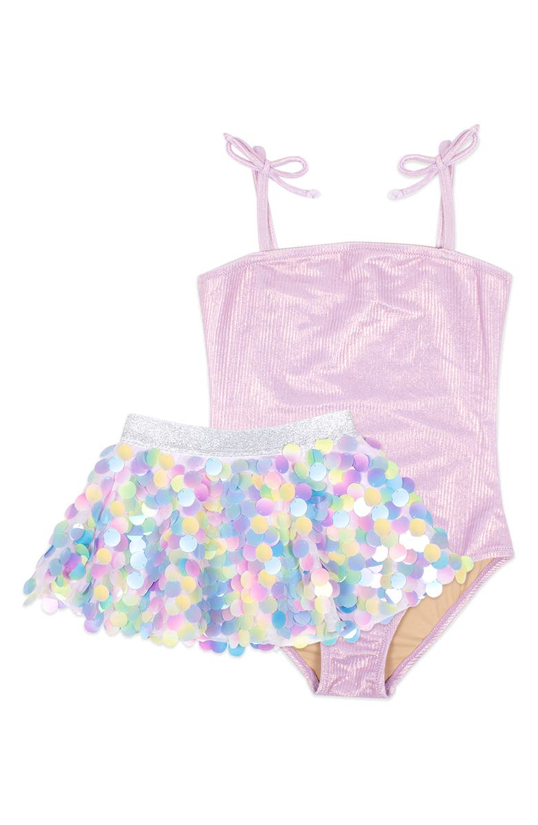 SHADE CRITTERS Kids' Lilac Shimmer One-Piece Swimsuit & Paillette Skirt Set, Main, color, LILAC