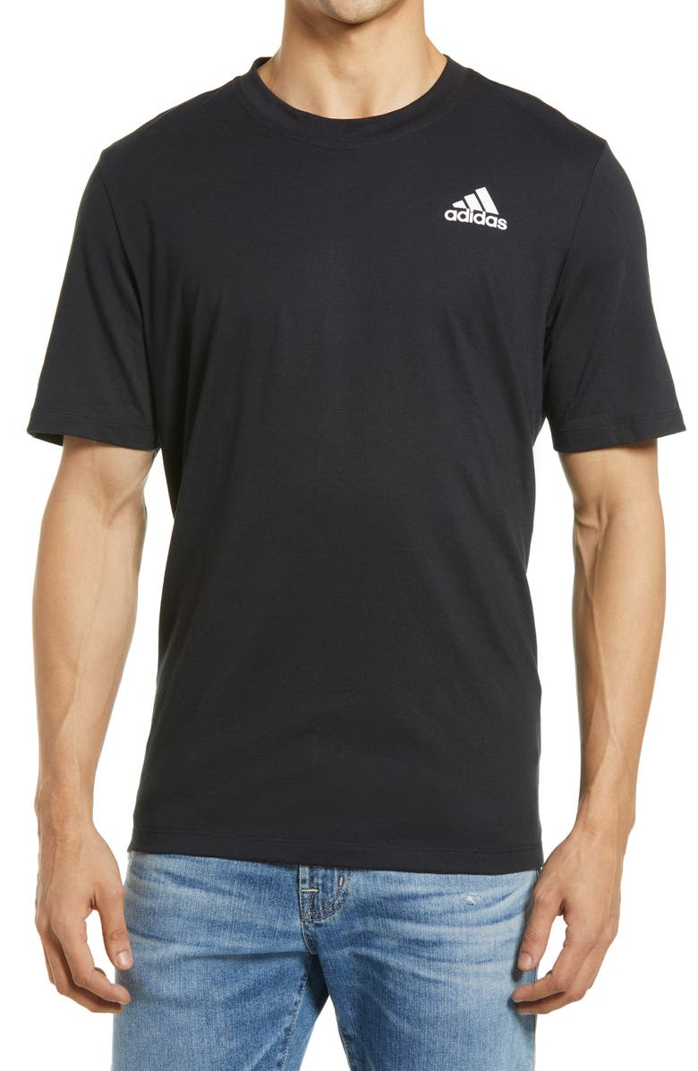 ADIDAS Men's Logo T-Shirt, Main, color, BLACK/ WHITE