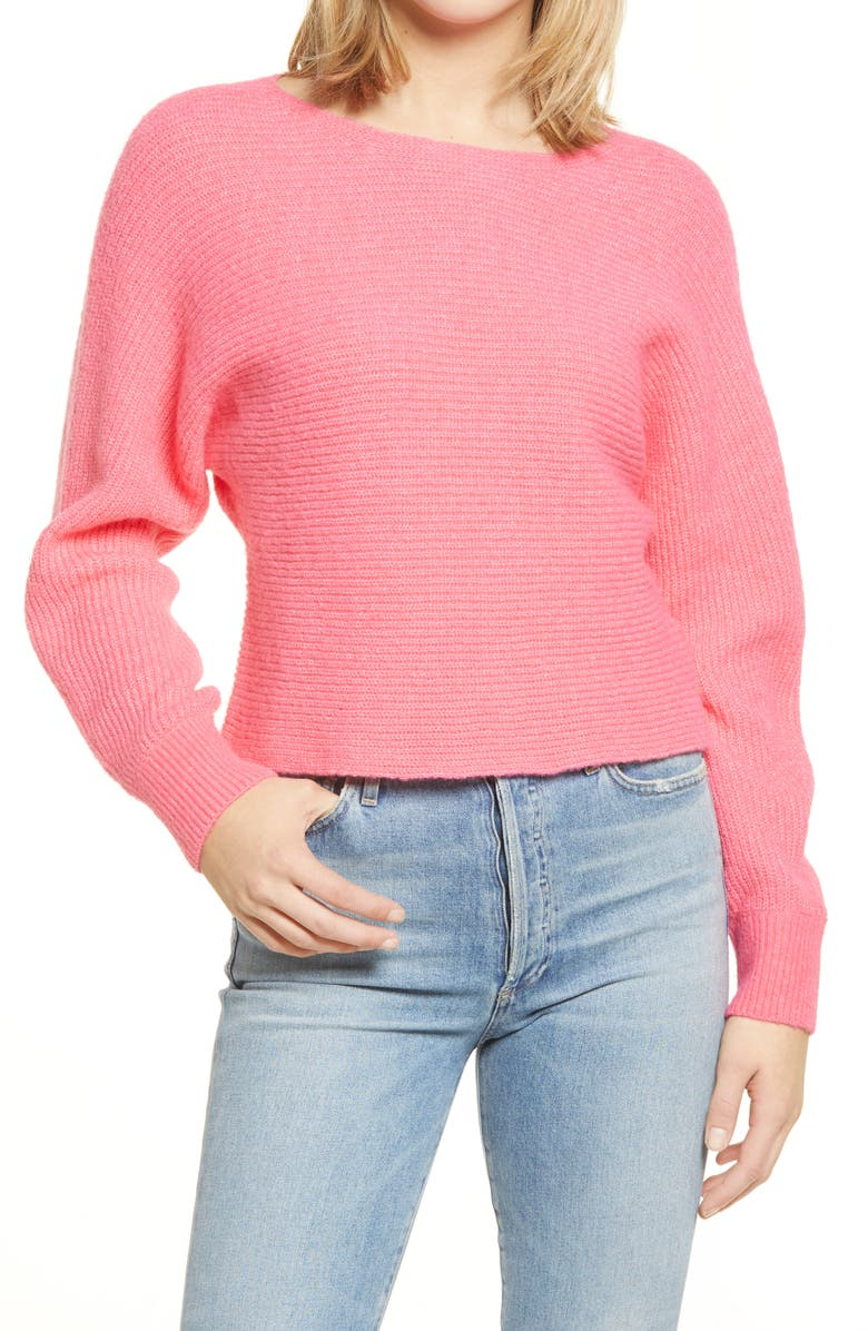 LEITH Dolman Sleeve Pullover, Main, color, PINK CALIENTE