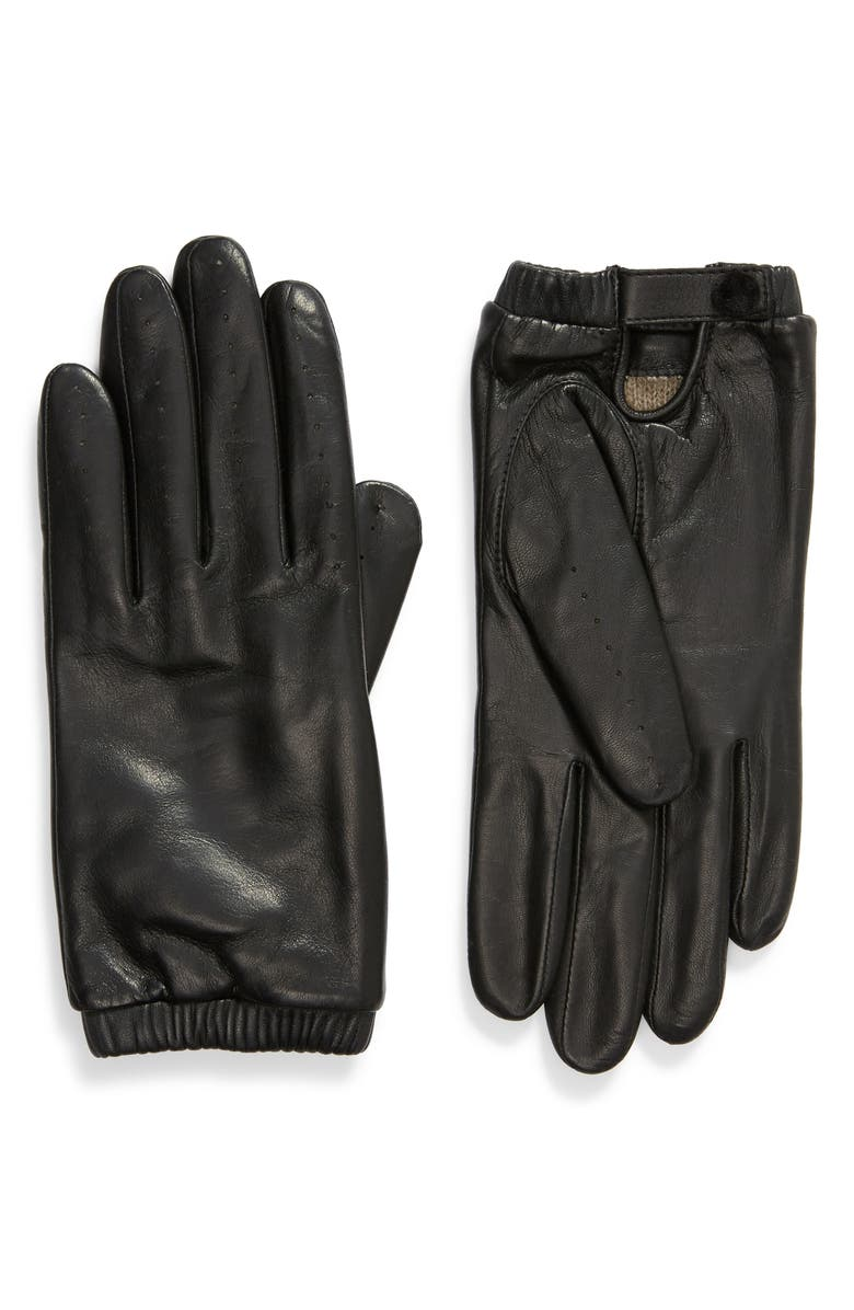 RACHEL PARCELL Leather Driving Gloves, Main, color, 001
