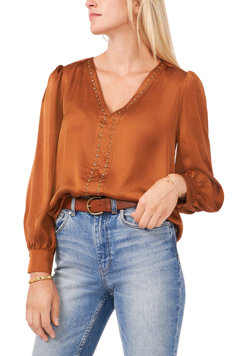 VINCE CAMUTO Studded Blouse, Main, color, RICH TOFFEE