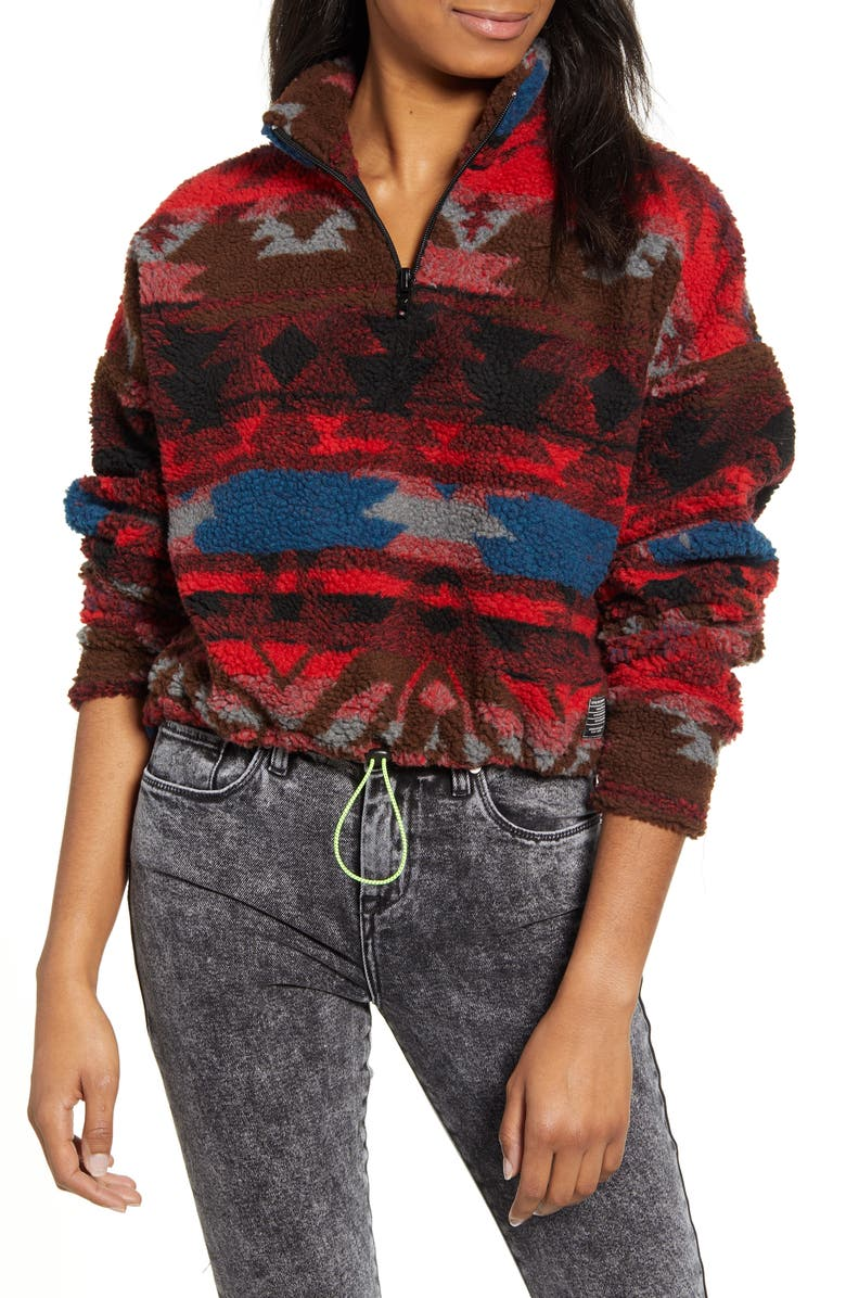BDG URBAN OUTFITTERS Peru Half Zip Crop Pullover, Main, color, 600