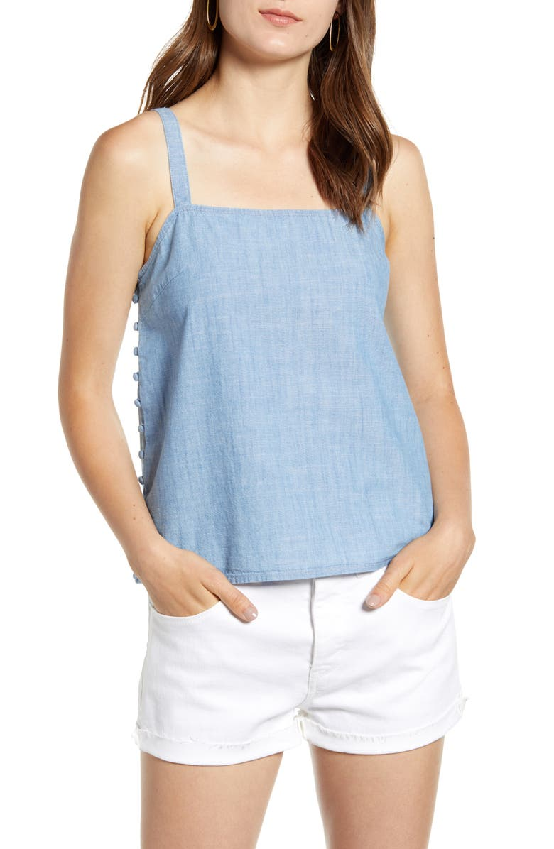 MADEWELL Side Button Chambray Camisole, Main, color, 400