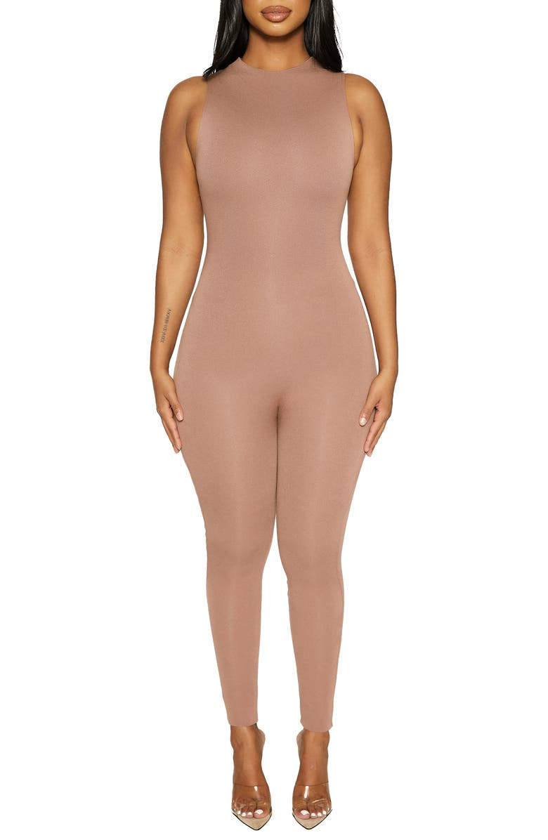NAKED WARDROBE The NW Sleeveless Jumpsuit, Main, color, COCO