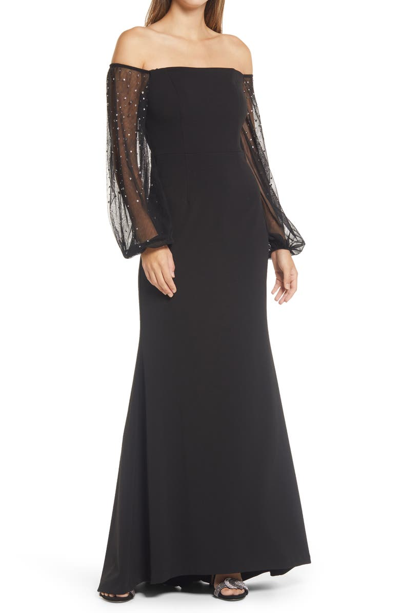 ELIZA J Off the Shoulder Long Sleeve Mermaid Gown, Main, color, BLACK