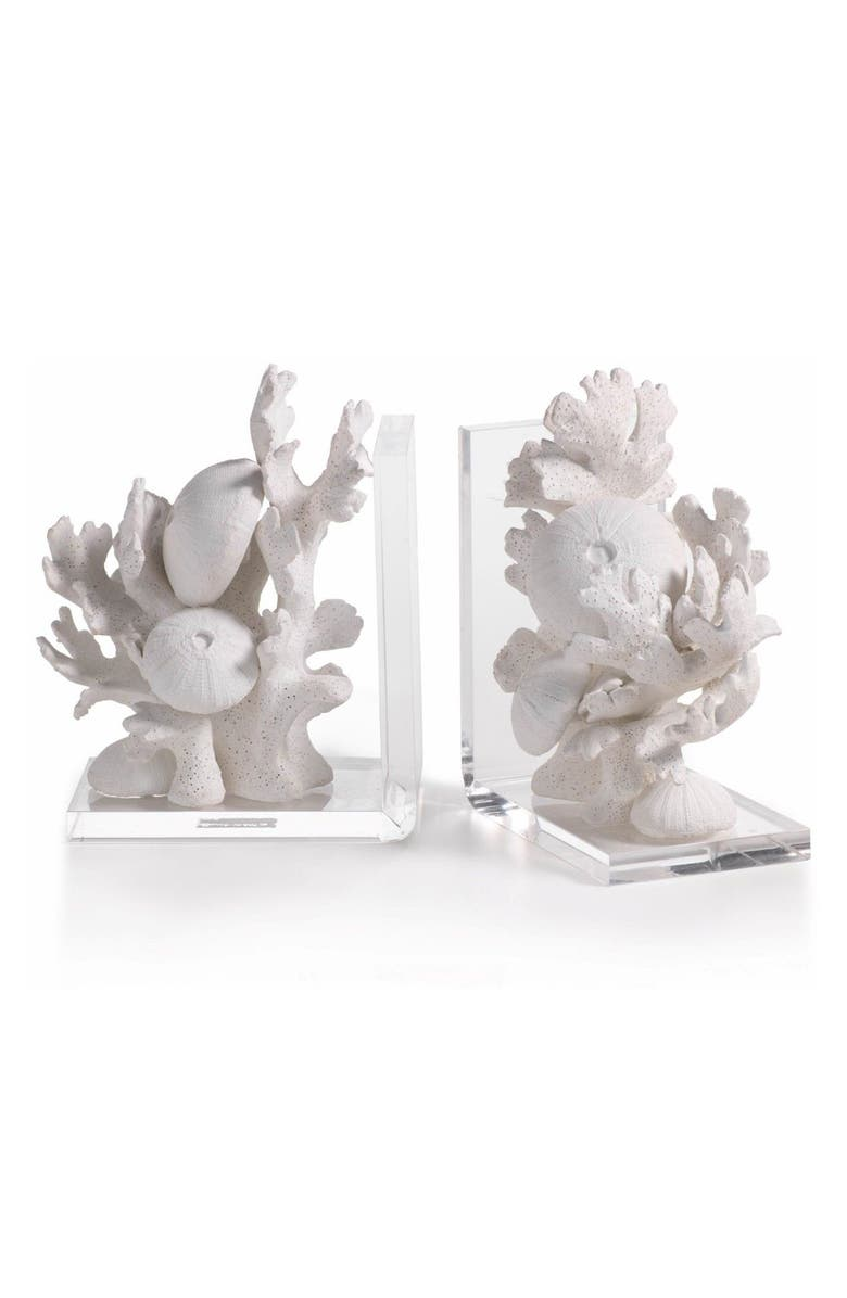 ZODAX Zarya Coral Resin Bookends, Main, color, White