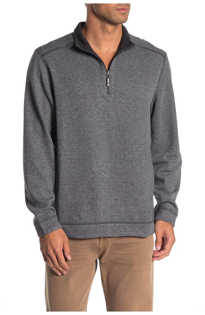 TOMMY BAHAMA Half Zip Reversible Pullover Sweater, Main, color, COAL