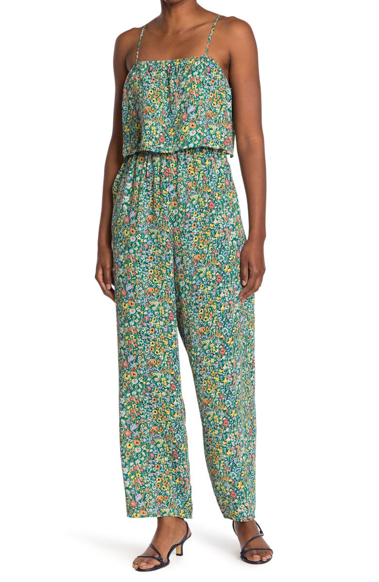 19 COOPER Ditsy Floral Print Jumpsuit, Main, color, GREEN MULTI