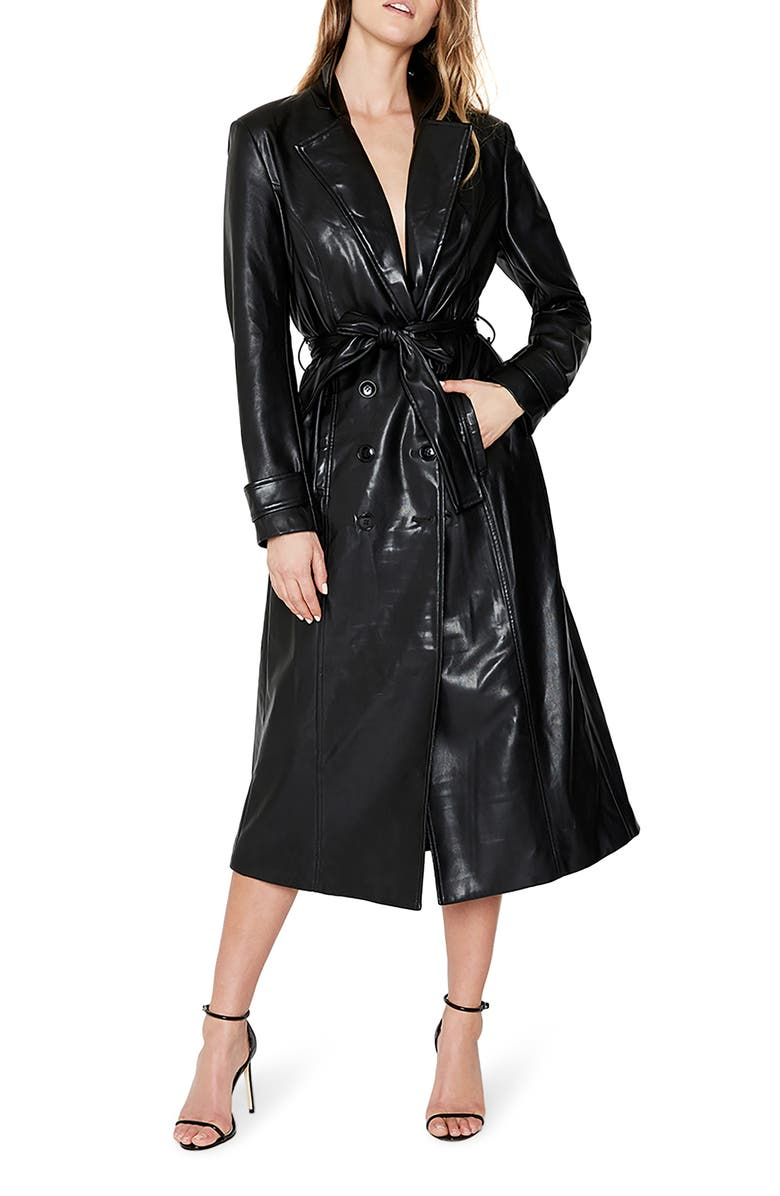 BARDOT Faux Leather Trench Coat, Main, color, 001