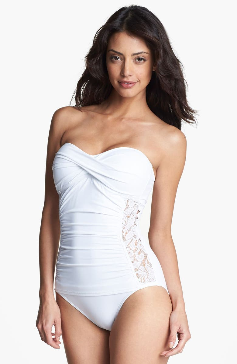 TOMMY BAHAMA Lace Inset One Piece Bandeau Swimsuit, Main, color, 100