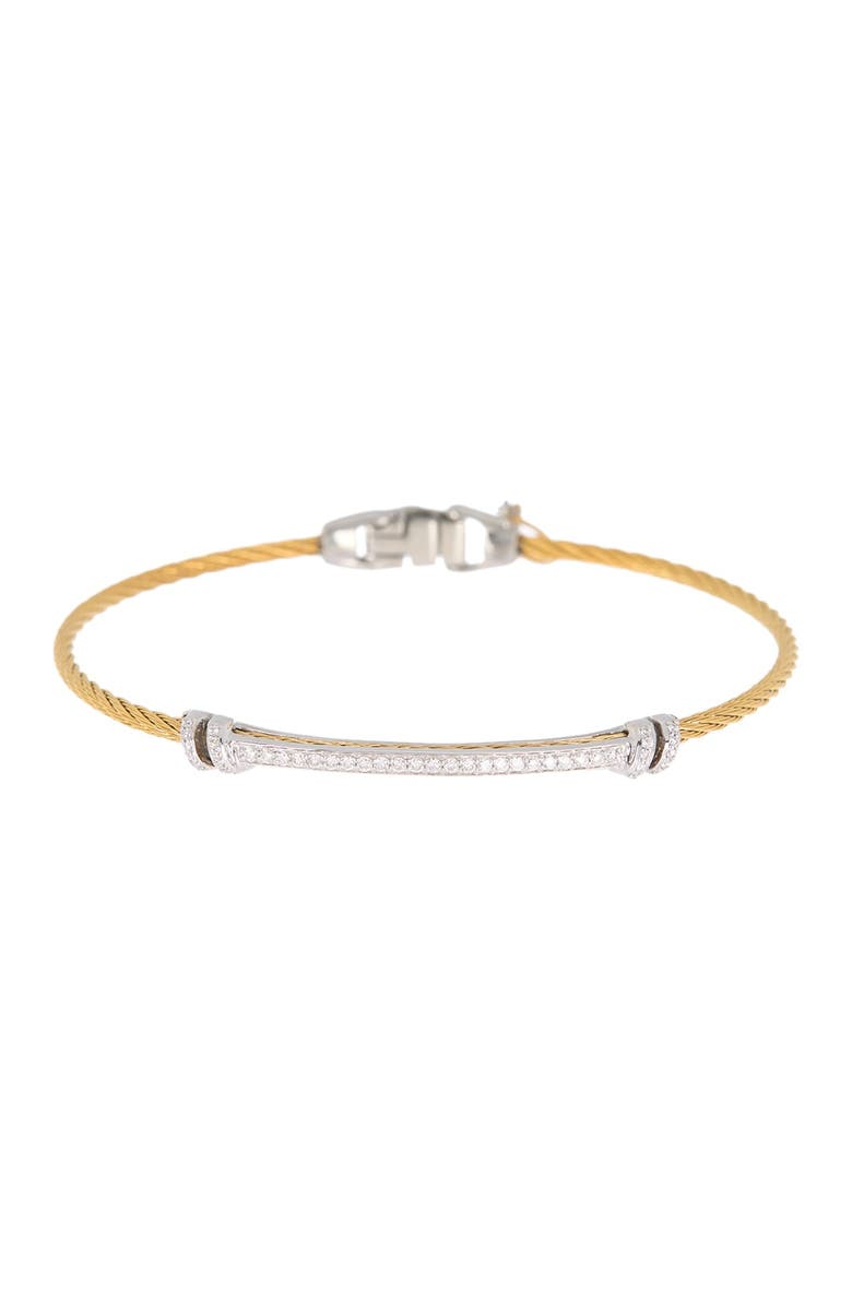 ALOR 18K White Gold Pave Diamond & Yellow Stainless Steel Cable Bracelet - 0.30 ctw, Main, color, 18KT WG