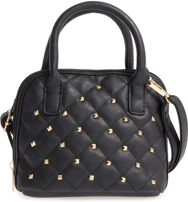 OMG ACCESSORIES OMG Studded Faux Leather Satchel, Main, color, 001