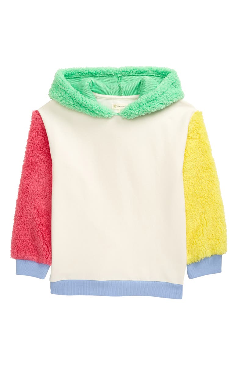 TUCKER + TATE Kids' Cozy Colorblock Hoodie, Main, color, IVORY EGRET- GREEN CELTIC
