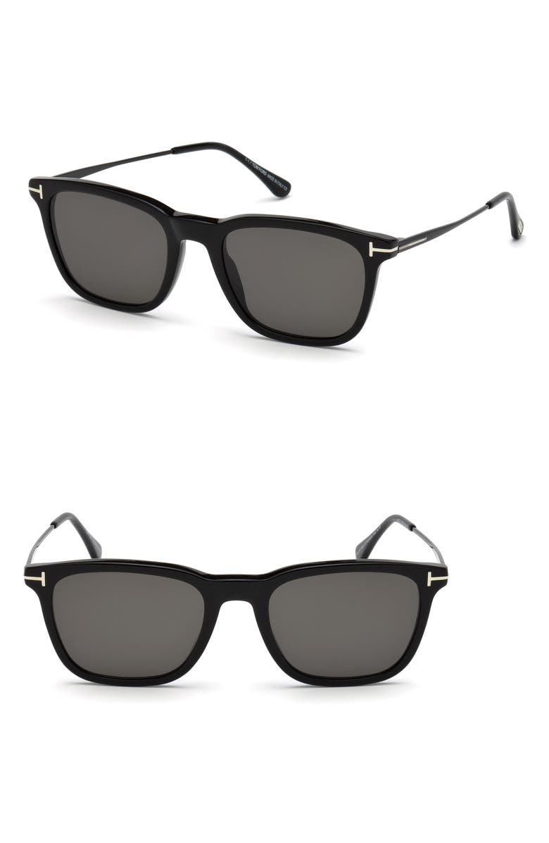 TOM FORD Arnaud 53mm Polarized Square Sunglasses, Main, color, SHINY BLACK / SMOKE POLARIZED