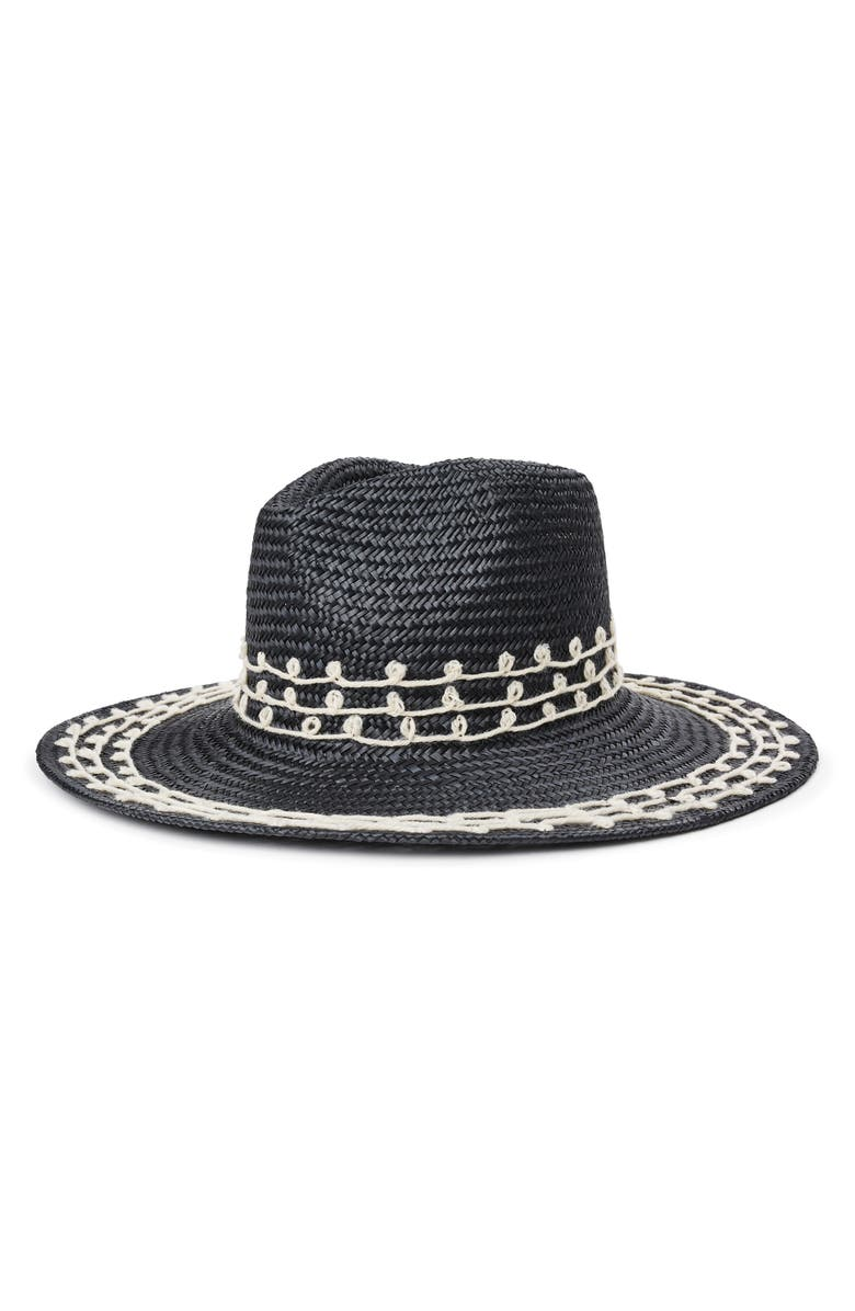 BRIXTON Joanna Embroidered Straw Hat, Main, color, 001