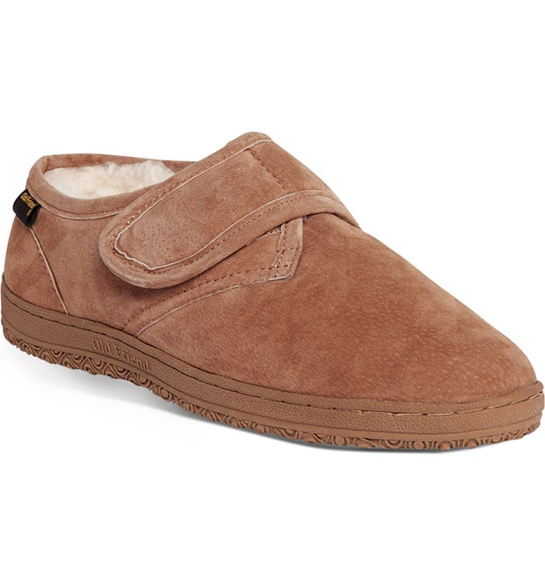 OLD FRIEND Genuine Shearling Bootie Slipper, Main, color, CHESTNUT LEATHER