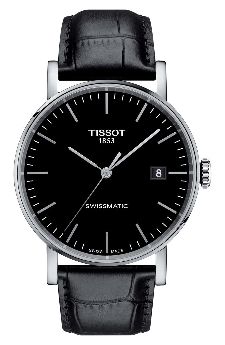 TISSOT Everytime Swissmatic Leather Strap Watch, 40mm, Main, color, 001