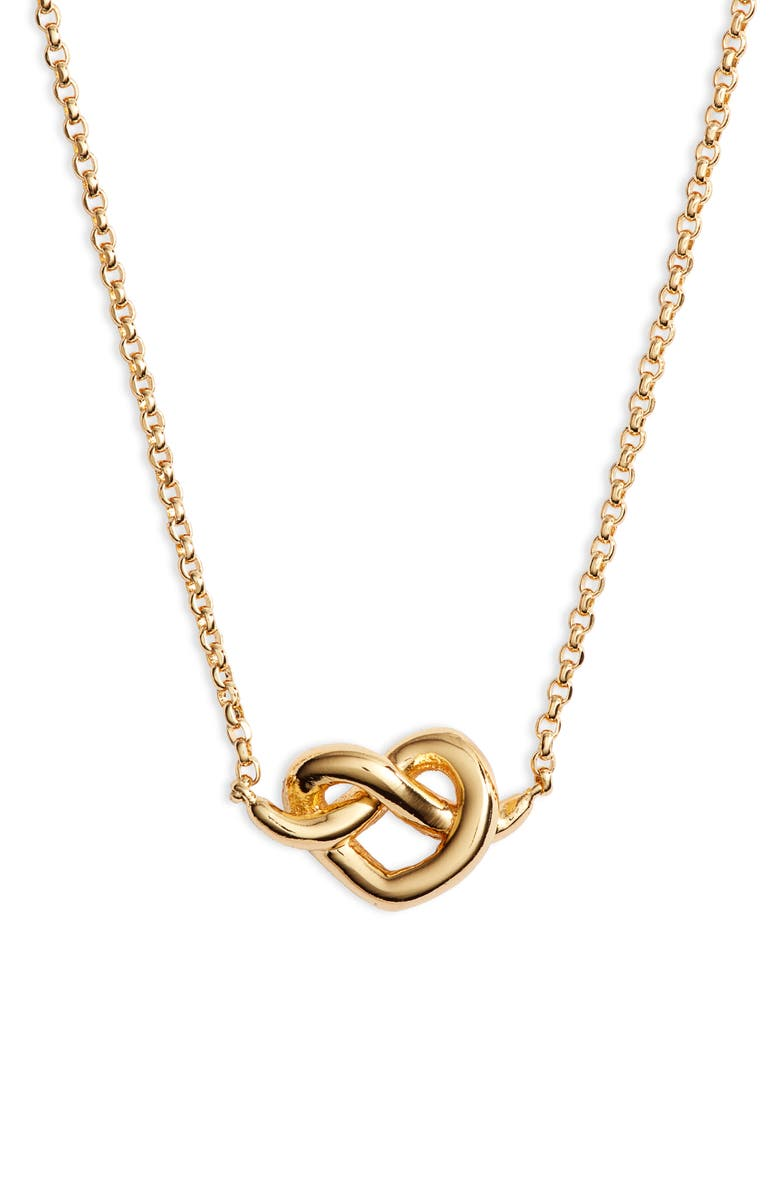 KATE SPADE NEW YORK loves me knot mini pendant necklace, Main, color, GOLD
