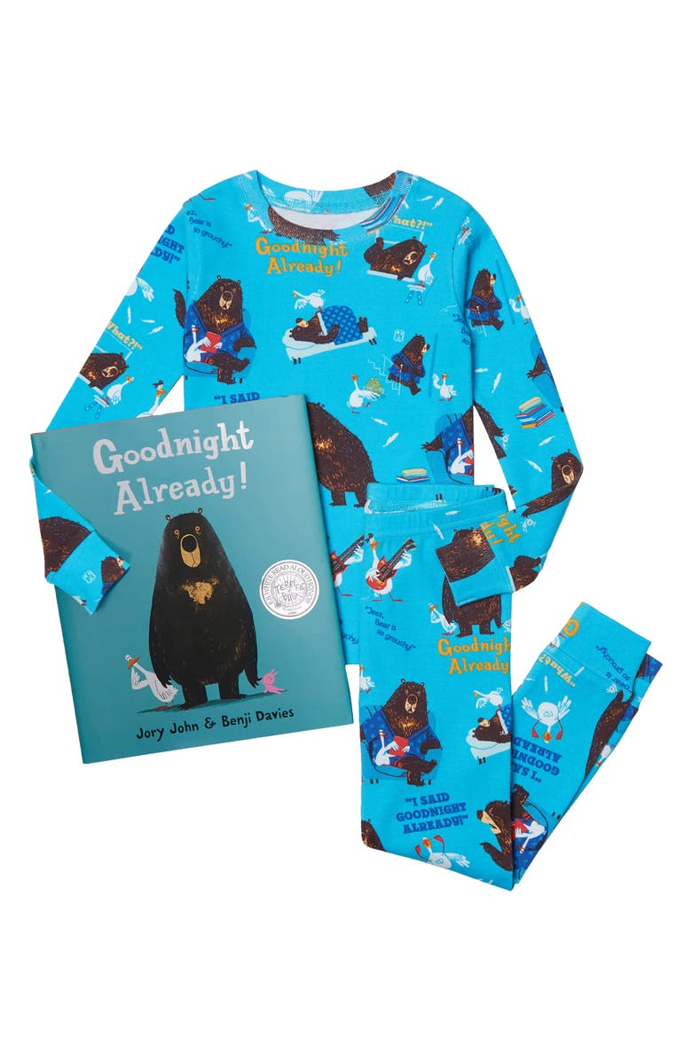 BOOKS TO BED Kids' 'Goodnight Already' Fitted Two-Piece Pajamas & Book Set, Main, color, Blue